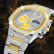 Mens Watches 18K Gold Quartz Watch Men Wristwatch Waterproof Clock