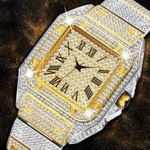 Square Men Watch Luxury Fashion Brand Gold Silver Casual Quartz Men Watch Clock