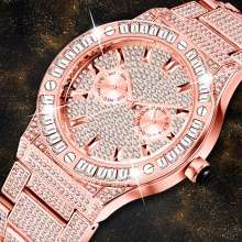 Rose Gold Square Diamond Men Watches Stainless Steel Watch Men Waterproof Business Men's Watches