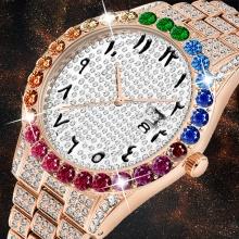Men Watches Luxury Iced Out Watch Rose Gold Big Diamond Watch for Men Quartz Wristwatch