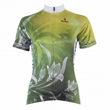 Short sleeve cycling jersey printed with lily flower for summer green color for girls