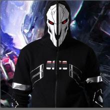 2016 New Blizzard Overwatch Reaper Cosplay Hoodies OW Game Hero Black Zip Up Full Face Cosplay Sweatshirt