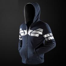 Quality Captain America Hoodie Zip Up Blue Superhero Cosplay Hooded Sweater