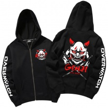 Blizzard Overwatch Oni Genji Hoodie Zip Up Black Sweatshirt For Mens Boys