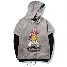 Quality Dragon Ball Majin Buu Hoodie Gray Plus Size Sweatshirt For Boy Men