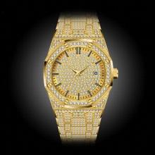 Men's Watches Men Watch Waterproof Hexagon Golded Clock Calender Hublo Gold Big Men's Wrist Watch