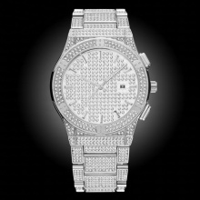 Classic Watch Men Carbon Fiber Fashion Steel HQ CZ Stone Geneva Wrist Watch