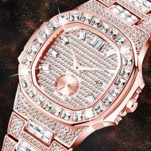 Baguette Diamond Analog Rose Gold Wrist Watch Quartz Gentleman Watches