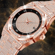 Fashion Luxury Men's Watch Rose Gold Full Diamond Unique FF Quartz Watch