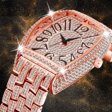 Rose Gold Men's Watch Tonneau Oversized Icd Out Diamond Male Chronograph Wrist Watch