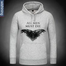 Game Of Thrones All men must die Hoodie Gray Mens Sweatshirt