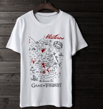 Game of Thrones Map Tshirt Men white Tee