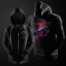 Overwatch Soldier 76 Sweater Hombres Negro Zip Up Hoodies