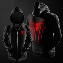 Marvel Superhero Spiderman Zip Up Hoodie Black Mens Spide-rman Sweater