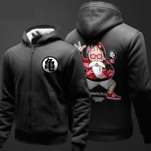 Dragon Ball Z Master Roshi Hoodie Black Zip WInter Dragon Ballz Sweater For Men Boy