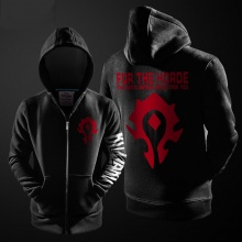 Quality WOW For the Horde Zip Up Hoodie World of Warcraft Hooded Coat For Men