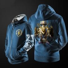 Cool WOW Alliance Logo Hoodie World Of Warcraft Zip Up Black Sweatshirt