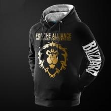 Blizzard WOW For The Alliance Hoodie Black World Of Warcraft Hooded Sweatshirt ForMen Boy