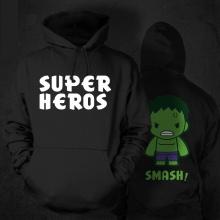 Cartoon Design Super Hero Hulk Sweatshirt Black Mens Hoodie