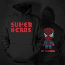 Cartton Design Spiderman Hooded Sweatshirt For Mens