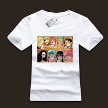 One Piece Luffy Family Meber White Black T-shirs For Boys