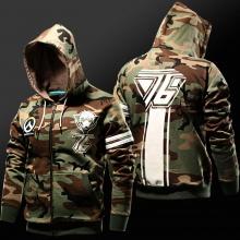 Blizzard Overwatch Soldier 76 Hoodie OW Soldier76 Zip Up Army Green Cosplay Sweatshirt