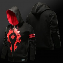 World of Warcraft Horde Hoodie Black Zip Up Hooded Sweatshirt