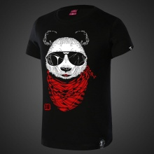Lovely Panda Tees Mens Black T-shirt