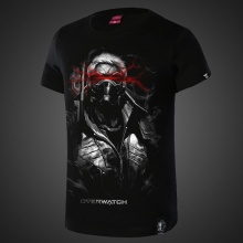 Darkness Overwatch Soldier 76 T-shirts Mens Black Tee Shirt