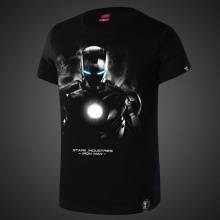 Darkness Design Marvel Superhero Iron Man Tees For Men Black T-shirts