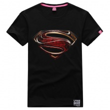 3D Steel Marvel Superhero Superman Logo T-shirt Large Size Black Tee Shirt