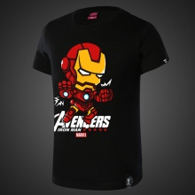 Lovely Cartoon Iron Man T-shirts For Young Black Tees