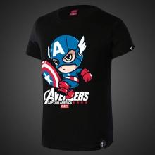 Lovely Cartoon Captain America Tees Mens Black T-shirt
