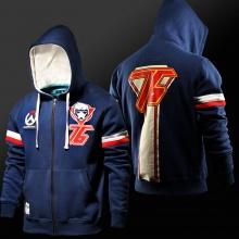 Blizzard Overwatch Soldier76 Hoodie Más tamaño azul suéter