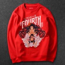 One Piece Monkey D Ruffy Hoodies Men red Sweatshirt