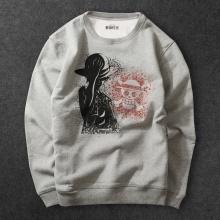 One Piece Anime Luffy Hoodie gray Sweatshirts For Mens