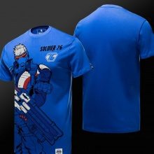 Overwatch Hero Soldier 76 T shirt Men Blue Shirts