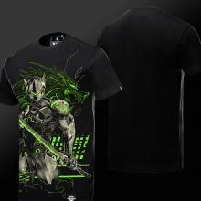 2016 New Luminous Blizzard Overwatch Genji T Shirts Black OW Game Hero Tee For Man