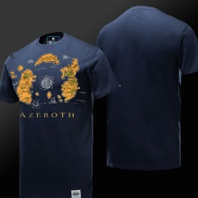 WOW Azeroth Country Map T-shirt blue Tees For Mens