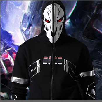2016 New Blizzard Overwatch Reaper Cosplay Hoodies OW Game Hero Black Zip Up Full Face Cosplay Sweatshirt