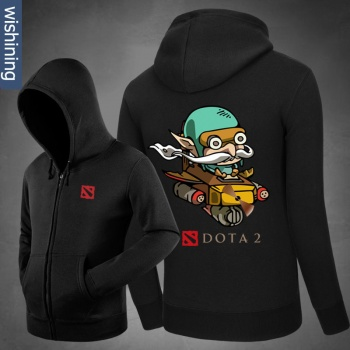 DOTA 2 Gyrocopter Hoodie Blizzard DOTA2 Zip Up Black Sweatshirt for Men