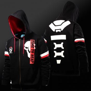 Overwatch Reaper Hoodies OW Game Hero Black Zip Sweatshirts for Mens