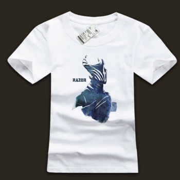 DOTA 2 Razor Hero T-shirt White Ink Printed Cotton Tees