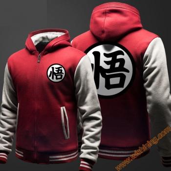 Dragon Ball Son Goku Hoodie Thick Fleece Winter Zip Hooded Sweatshirt For Him