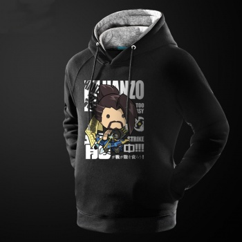Lovely Cartoon Over Watch Hanzo Hoodie OW Game Black Sweatshirt For Him