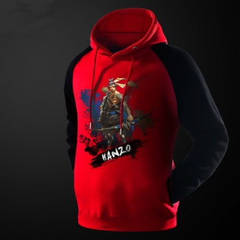 Ink Printed Overwatch Hanzo Hoodie Blizzard Red Hooded Sweatshirt For Men