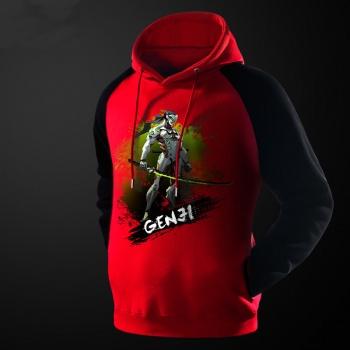 High Quality Ink Overwatch Genji Sweatshirt Red Men Blizzard OW Hero Hoodie