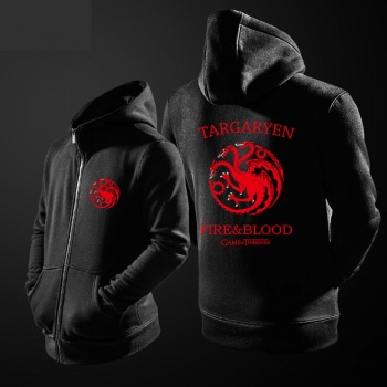 Quality Game of Thrones House Targaryen Hoodie Red three-headed Dragon Sweatshirt