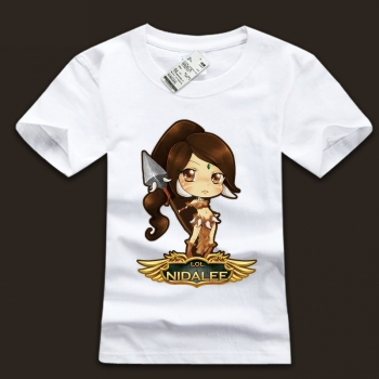 White Mens league of leagends LOL Nidalee TShirts