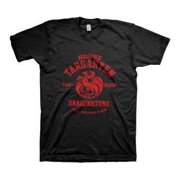 House Targaryen sigil three headed red dragon T-shirt For mens